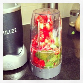 Nutribullet - Strawberry, raspberry, mint, green tea concoction