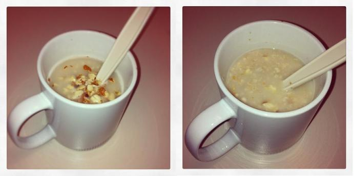 Quick Oats mixed with Almonds - Before and After