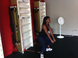 The simple activity of walking in a squat position while attached to the Fitwall is much more difficult than it looks!